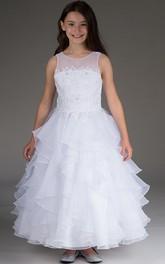 Layered Princess Sleeveless Scoop-Neckline Organza Flower Girl Dress