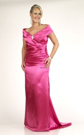 V-neck Satin Ruched Dress With Broach And Sweep Train