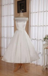 Wedding Ribbon Off-The-Shoulder Neckline 3-4-Length Sleeveless Dress