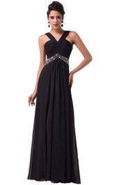 Chiffon Beaded Waist Sleeveless Sassy Gown