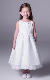 Ankle-Length Sleeveless A-Line Tulle Flower Girl Dress