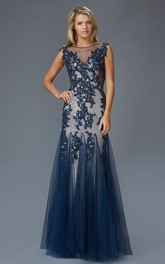 A-Line Jeweled Appliqued Scoop-Neck Cap-Sleeve Keyhole Tulle Dress