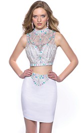 Two-Piece High Neck Sleeveless Homecoming Dress Embellished By Rhinestones
