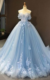 Off-the-shoulder Tulle Sleeveless Floor-length Sweep Train Prom Dress with Pleats