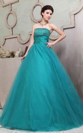 A-Line Crystal Ruffles Strapless Floral Ball Gown