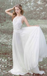 Bateau Sleeveless A-Line Wedding Dress With Lace Top