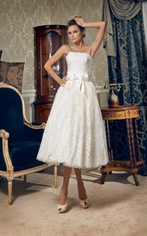 Corset-Back Bow Strapless 3-4-Length Lace Dress