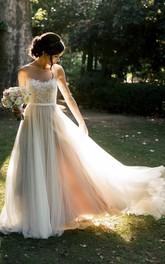 Ethereal Sleeveless Floor-length Lace Wedding Dress