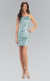 Sheath Mini Spaghetti Sleeveless Sequins Dress