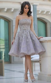 Sleeveless A-line Knee-length Strapless Beading Sash Ribbon Sequins Sequins Homecoming Dress