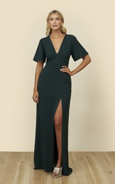 Bell Half Sleeve Dress With Plunging Neckline And Front Split With A Keyhole Back