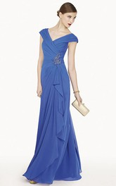 V-neck Cap-sleeve long evening Dress With Draping