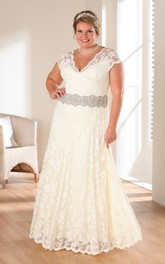 Plunged Cap-sleeve Lace plus size wedding dress With Jeweled Waist