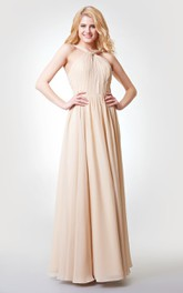 Sleeveless A-line Ruched Long Chiffon Dress With Pleats