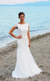 Long Cap Sleeves Cap-Sleeve Trumpet Bridal Dress