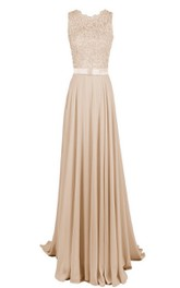 Long Floral Top High-Neckline Sleeveless Gown