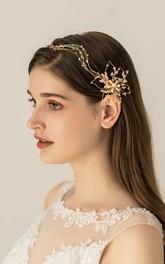 Golden Romantic Beaded Headbands with Flowers
