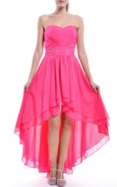 Sweetheart Chiffon High-low Dress With tiers And Jeweled Waist