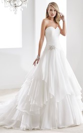 A-Line Chiffon Wedding Dress With Illusive Neckline And Beading Waist