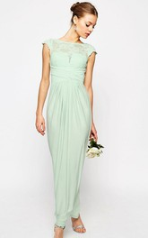 Bateau Cap-sleeve Pencil Ankle-length Dress With Lace And Split Back