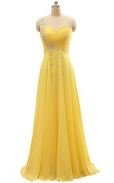 Chiffon Jewel Single-Shoulder Long Pleated Dress