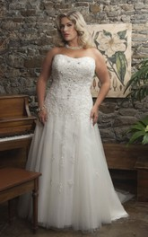 Strapless A-line Tulle Wedding Dress With Appliques And Corset Back