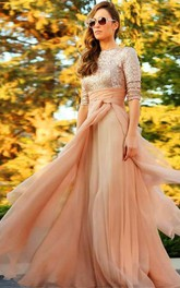 Long Short-Sleeves Prom Sequined Stunning Evening Gown