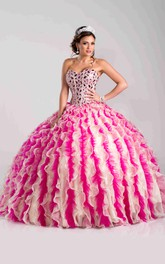 Organza-And-Tulle Rhinestones Ruffled Ball Gown