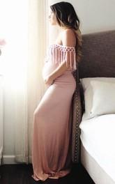 Off-the-shoulder Sheath Pencil long maternity Dress
