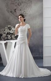 Criss-Cross Jewels Short-Sleeve Scoop-Neck Gown
