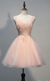 Tulle Appliqued Beaded Short Lovely Homecoming Dress