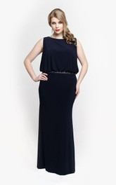 Jersey Blouson Top Sleeveless Bateau-Neck Gown