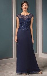 Sequined Illusion Inspire V-Neckline Cap-Sleeved Mother Of The Bride