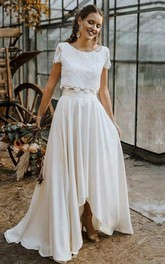 Bohemian Short Sleeve Bateau Satin and Lace Two Piece Floor-length Wedding Dress with Pleats