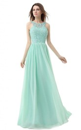 Jewel-Neck Sleeveless A-line Chiffon Dress With Lace top