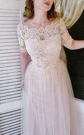 Scalloped Bateau Neckline Pleated Skirt Lace-Bodice Short-Sleeve Dress