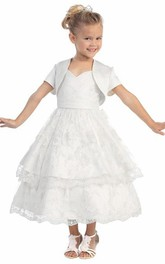 Tiered Satin Bolero Short Lace Flower Girl Dress