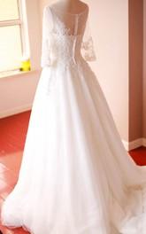 Lace Appliqued Bateau Neckline A-Line Organza Gown