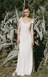 Simple Two Piece Lace Short Sleeve Bridal Gown
