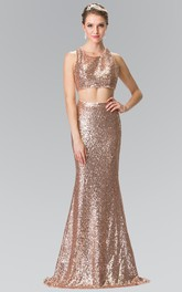 2-Piece Zipper Column Full-Length Sleeveless Scoop-Neck Sequined Dress