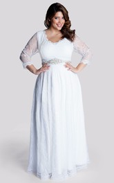 V-neck Illusion Long Sleeve Wedding Dress With Jeweled Waist
