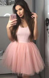 Square Satin Tulle Sleeveless Short A Line Homecoming Dress with Ruching