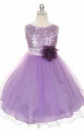 Scoop-neck Sleeveless Flower Girl Dress With Sequins