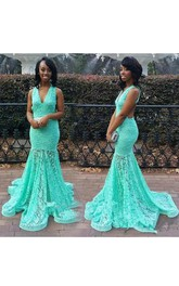 Plunged Sleeveless fishtail Floor-length Prom Dress With Sweep Train
