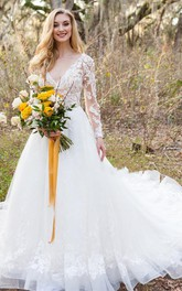 A Line V-neck Lace Tulle Floor-length Court Train Long Sleeve Wedding Dress With Appliques