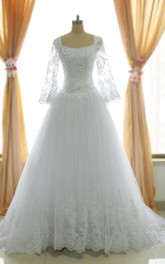One-Shoulder Beaded Lace 3-4-Length A-Line Tulle Long-Sleeve Dress