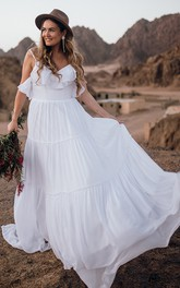 Casual Boho Sleeveless A Line Chiffon Spaghetti Wedding Dress with Ruffles