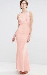Sheath Sleeveless Jewel-Neck Cascading-Ruffle Floor-Length Chiffon Bridesmaid Dress