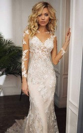 Mermaid Lace Floor-length SweepTrain Long Sleeve Illusion Back Wedding Dress With Appliques