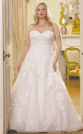 Sweetheart A-line Lace Appliqued Tulle plus size wedding dress